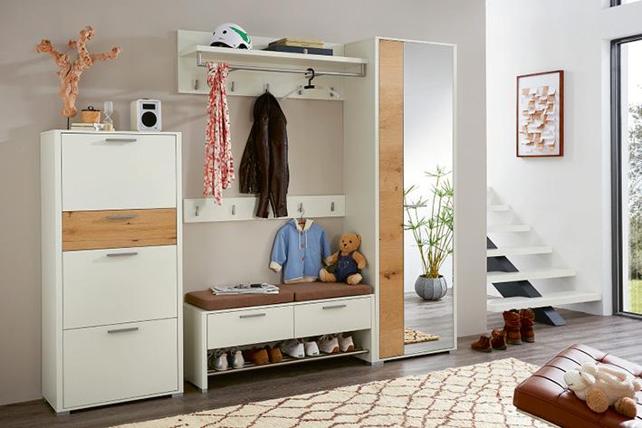 garderobe wei eiche affordable elegant garderobe in weiss eiche hell oder graphit eiche hell. Black Bedroom Furniture Sets. Home Design Ideas