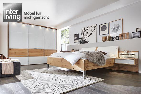 ... Interliving 1202 Schlafzimmer Glas Weiß Balkeneiche